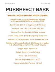 Our specials for national dog week, through Sept 27th.