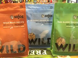 Sojos Wild new formula's, 3 flavors! Wild Boar, Salmon & Venison. Great for small dogs and mixing in with larger dogs!