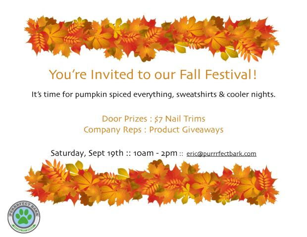 Join us for Fall Fest on September 19th. Party starts at 10am!